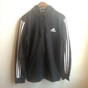 Adidas black Full zip hoodie jacket 3 stripes